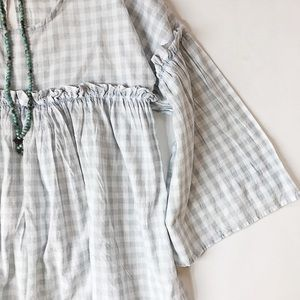 Topshop Checked Boho Top